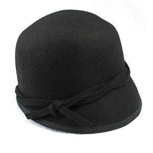 Nine West Black Cloche 100% Wool Adjustable Hat
